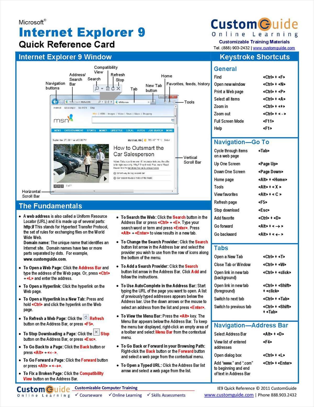Microsoft Internet Explorer 9 - Free Quick Reference Card