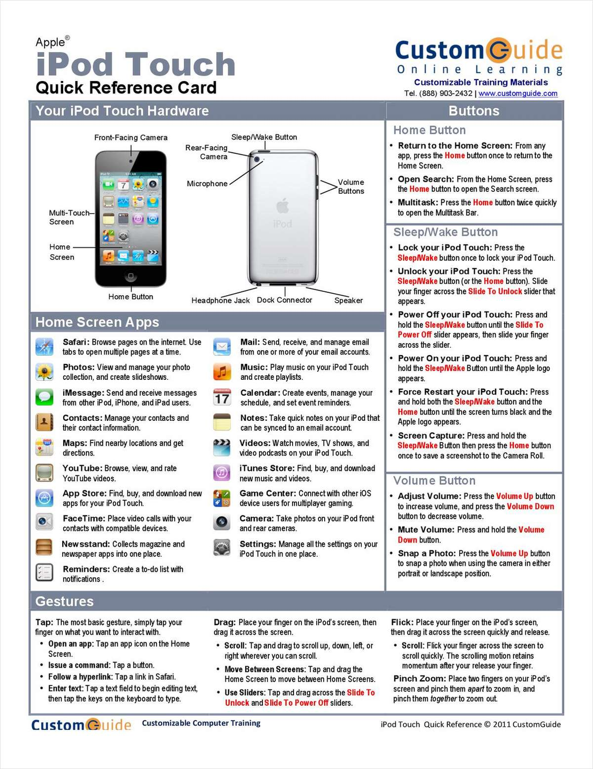 Apple iPod Touch- Free Quick Reference Card