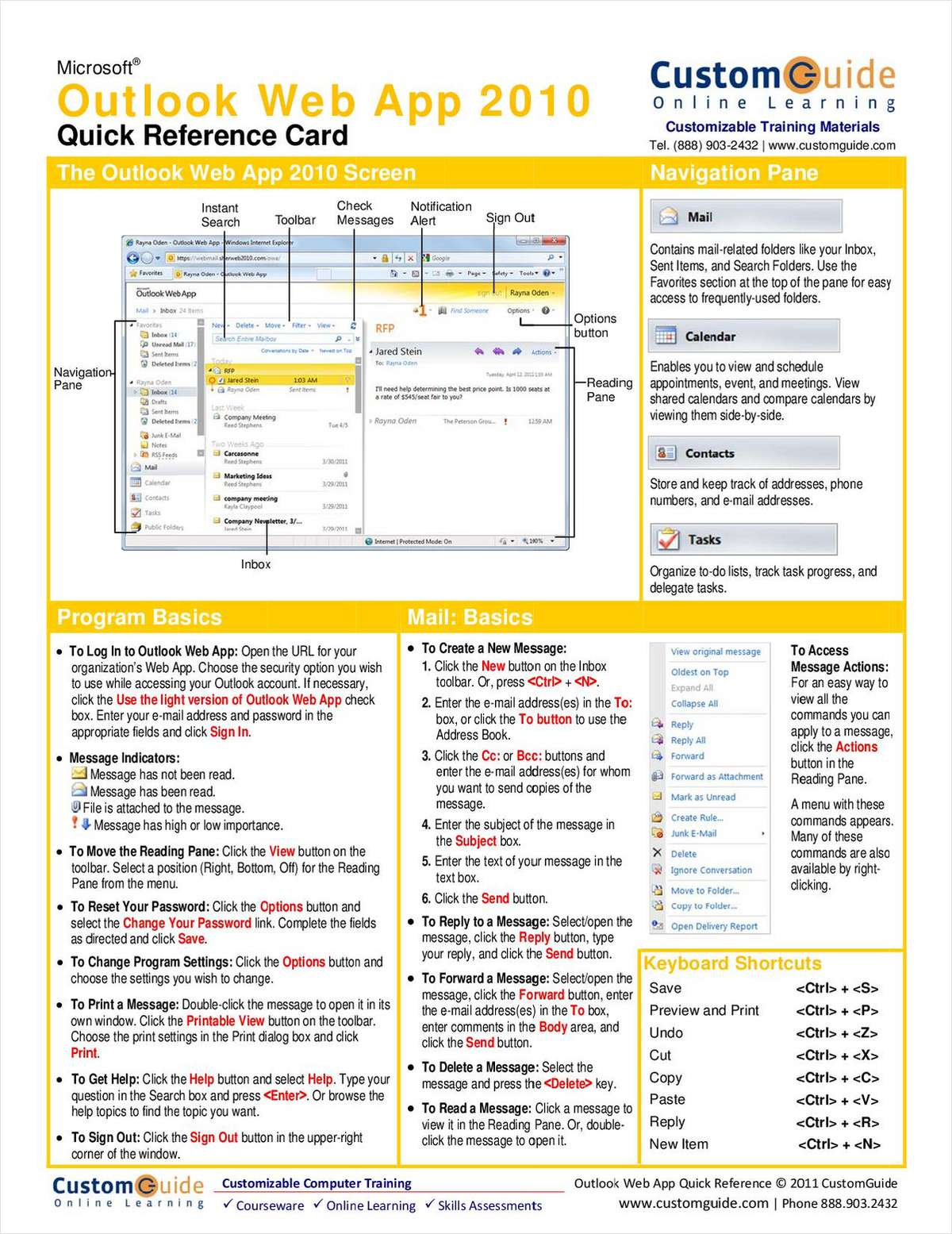 Microsoft Outlook Web App 2010-- Free Quick Reference Card