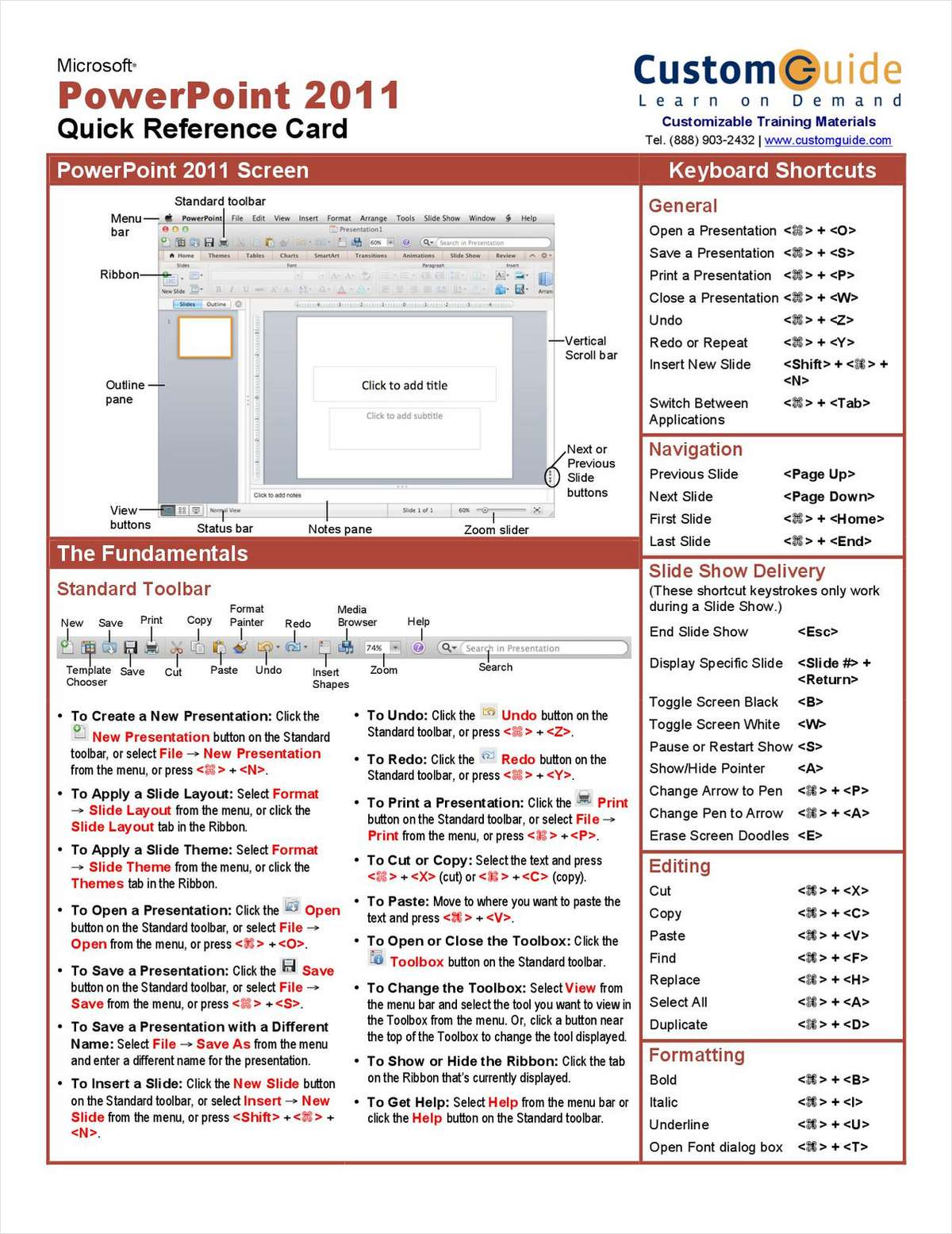 Microsoft PowerPoint 2011- Free Quick Reference Card
