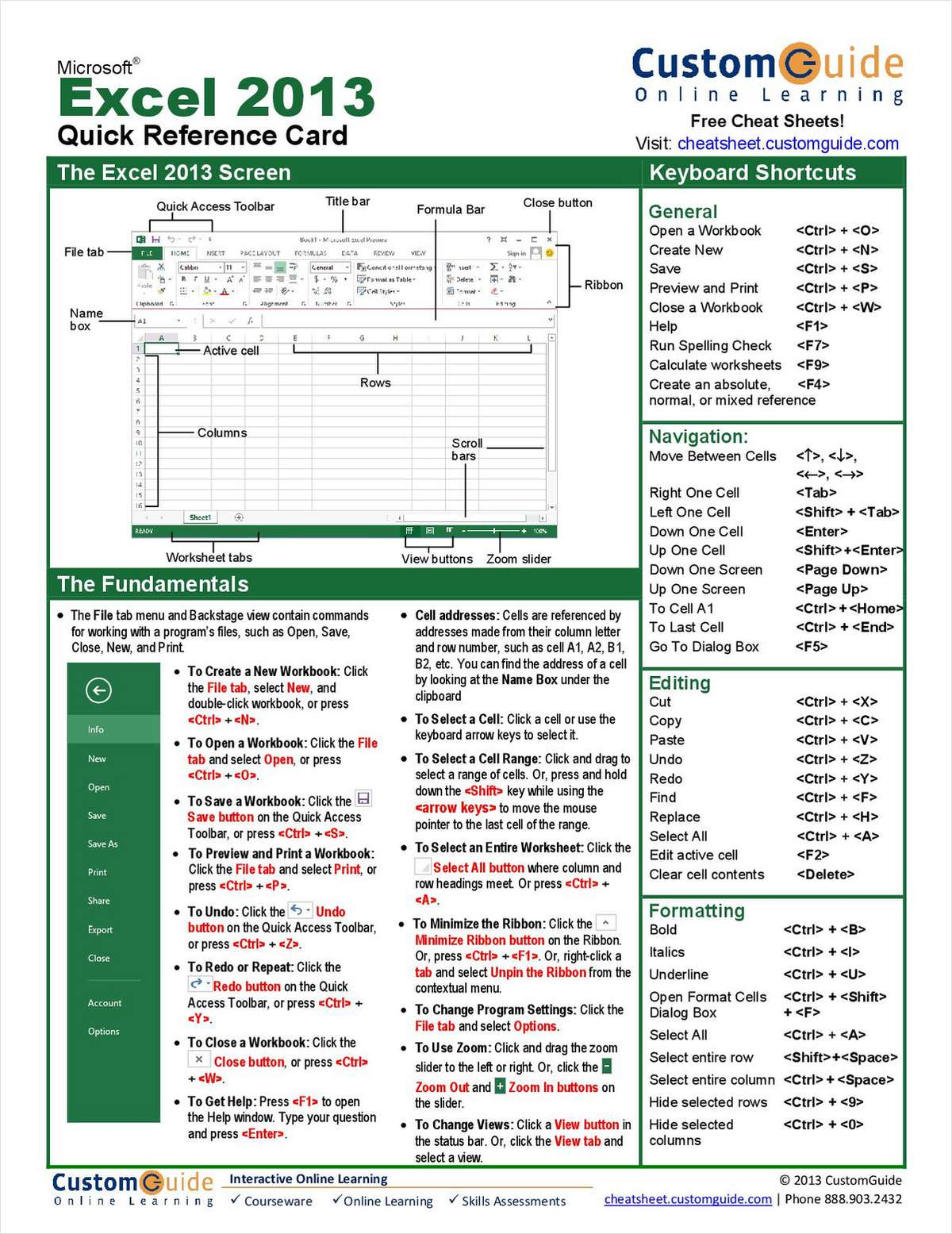 Microsoft Excel 2013-- Quick Reference Guide