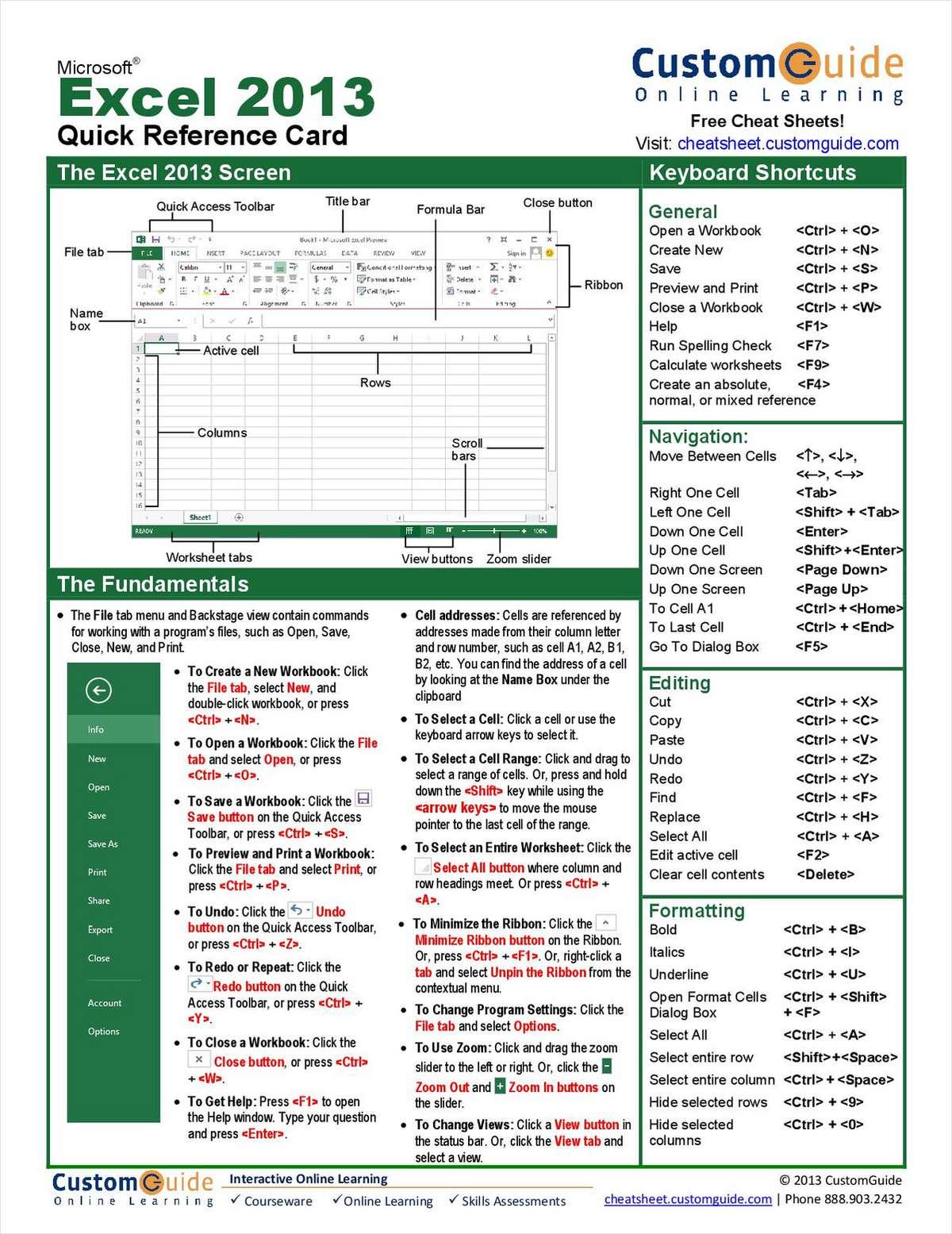 microsoft excel 2013 quick reference guide free customguide tips rh dailywhitepaper tradepub com Quick Reference Guide Layout Quick Reference Guide Examples