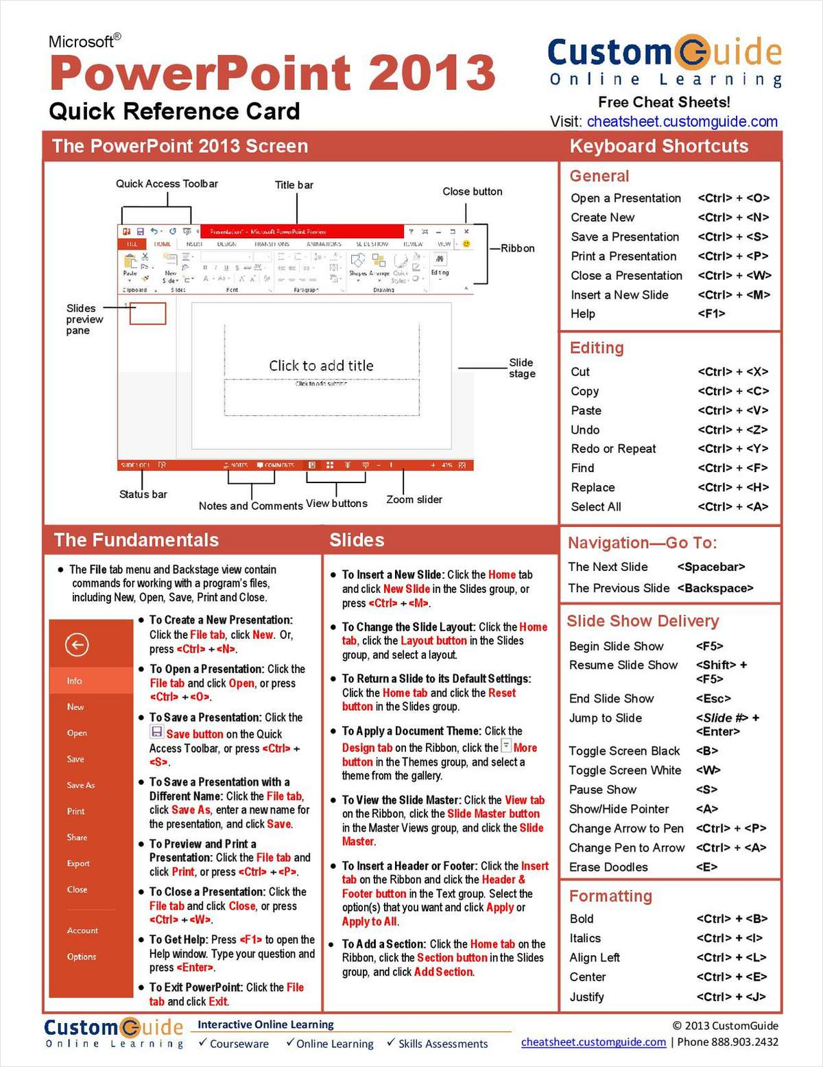 Microsoft PowerPoint 2013 -- Free Quick Reference Card