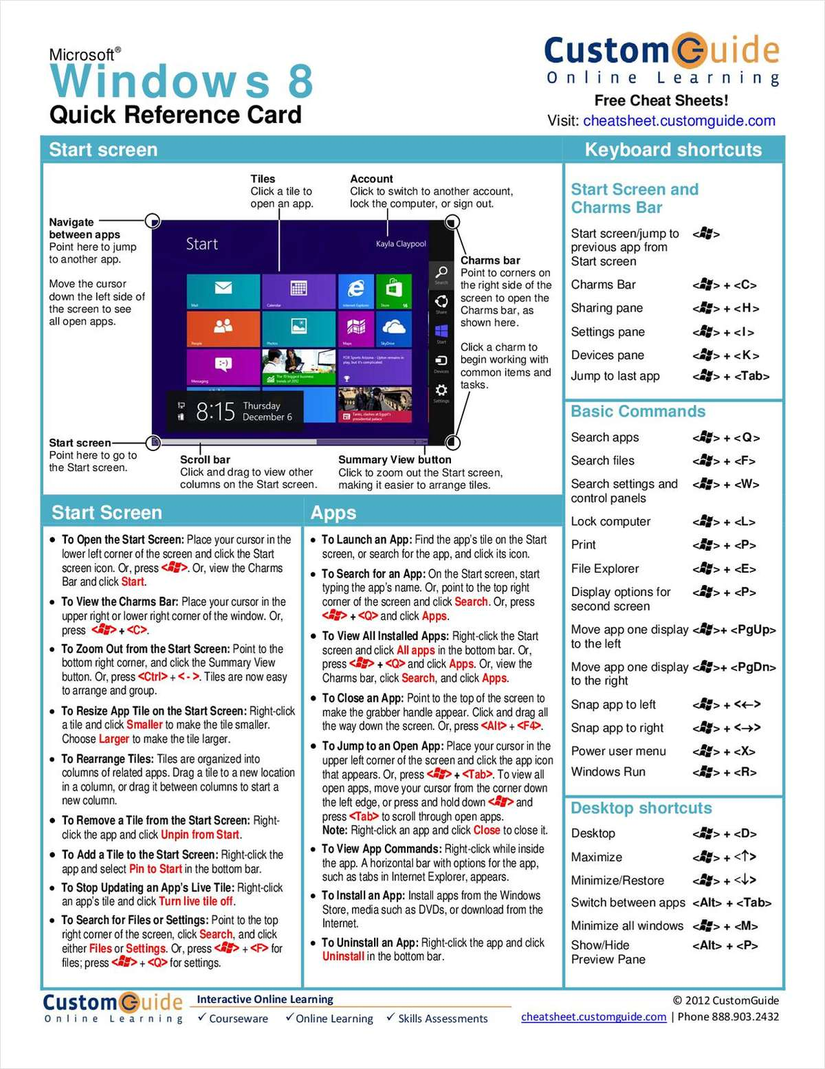 Microsoft Windows 8-- Free Reference Card