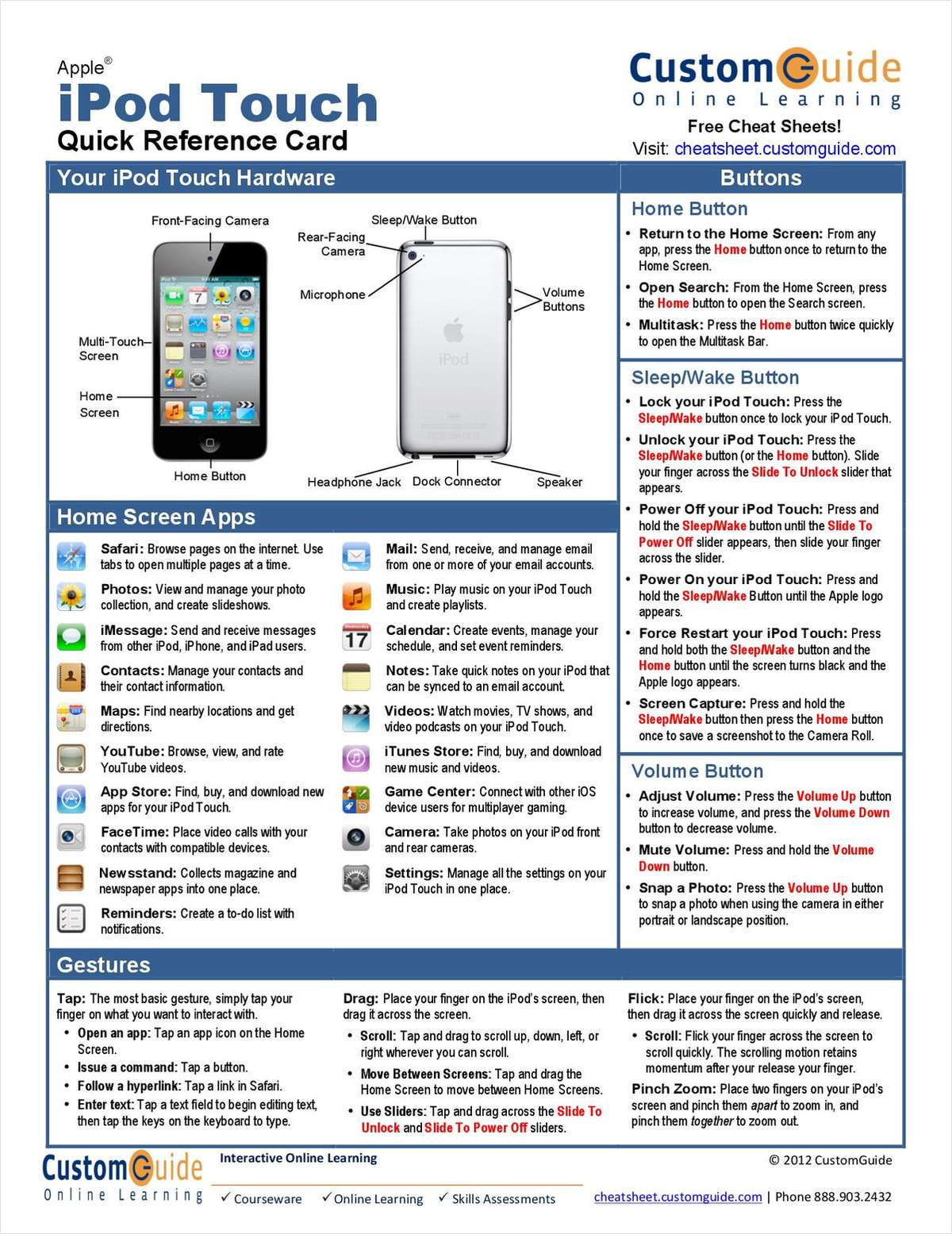Apple iPod Touch 4 -- Free Quick Reference Card