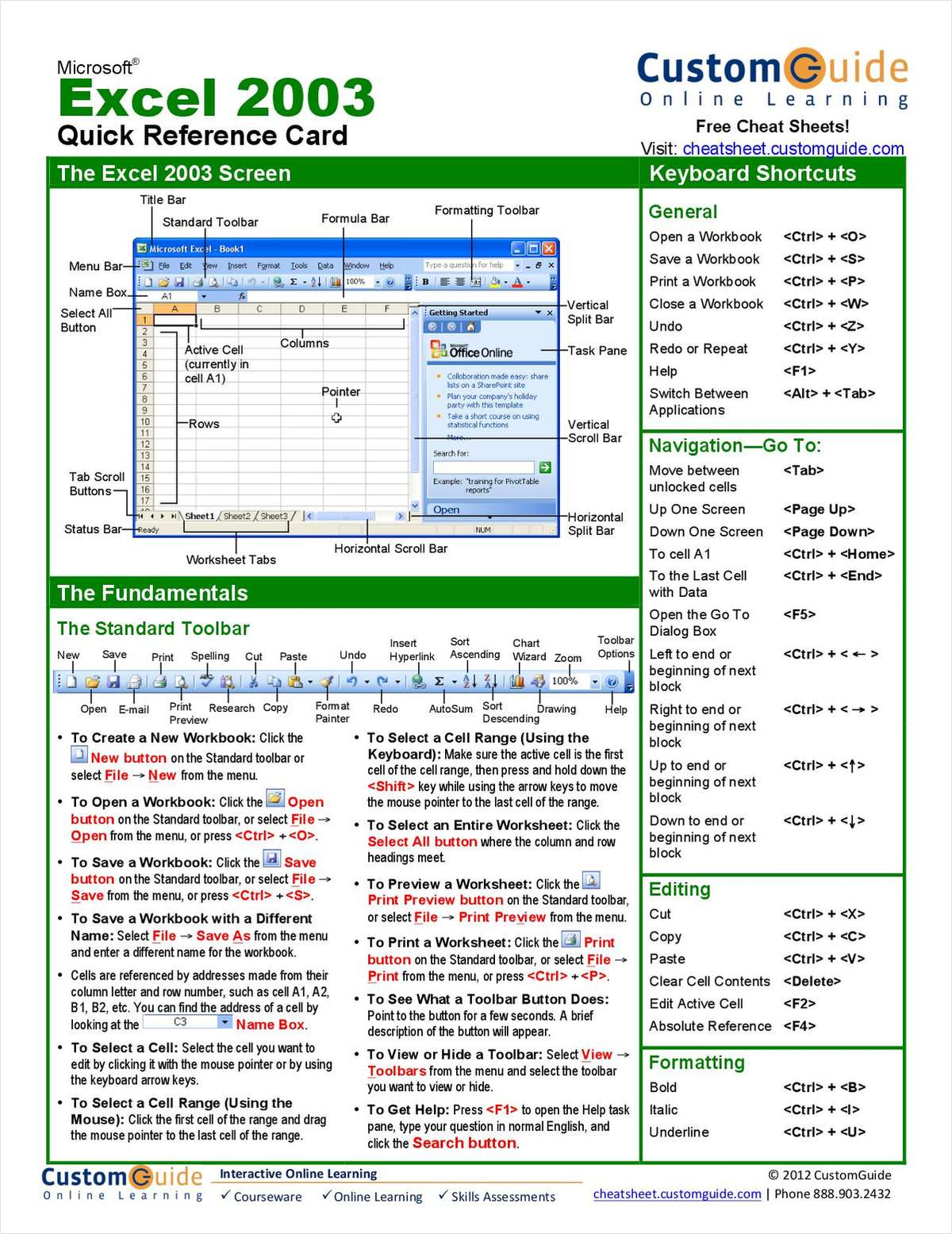 Microsoft Excel 2003 -- Free Quick Reference Card