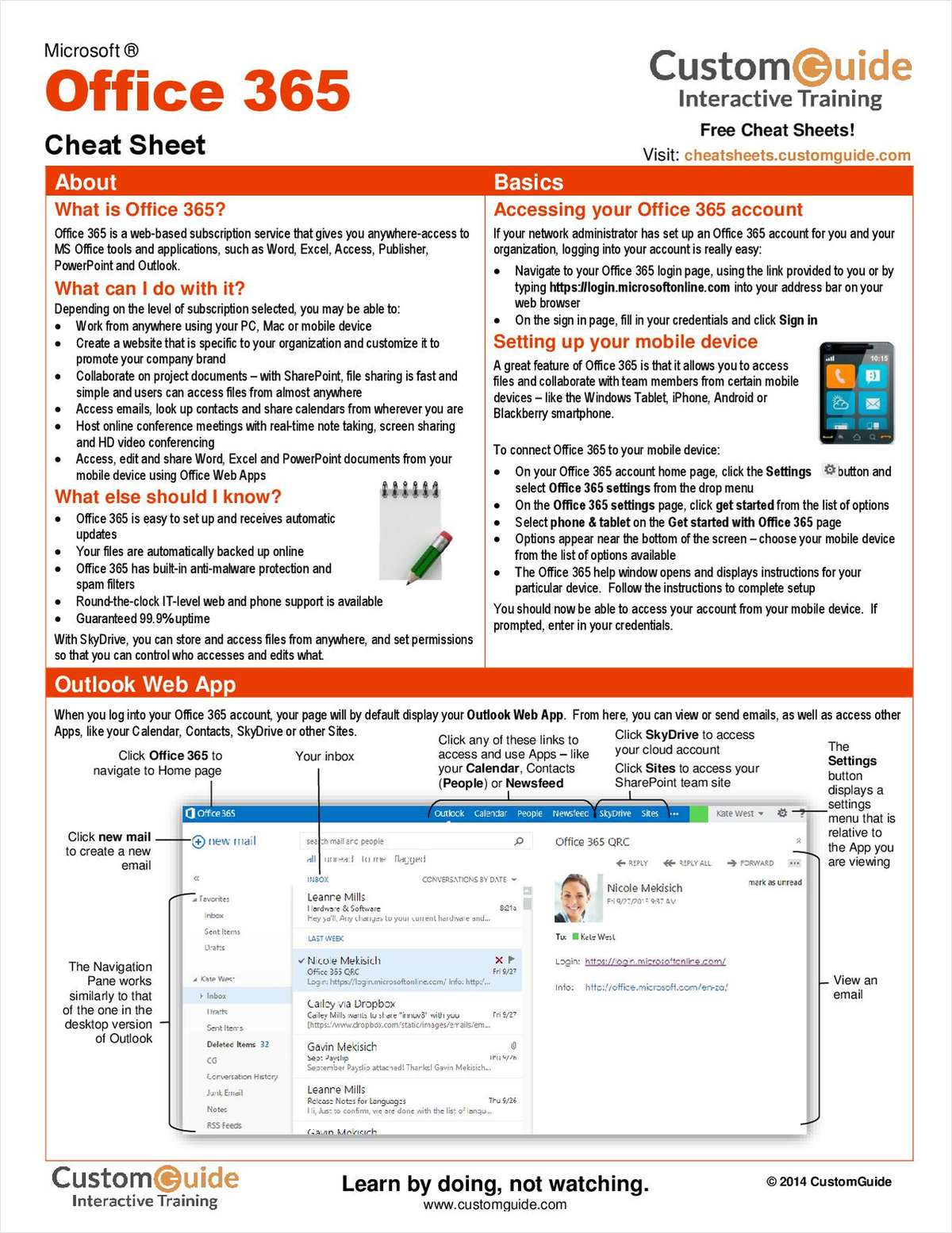 Microsoft Office 365 -- Free Cheat Sheet