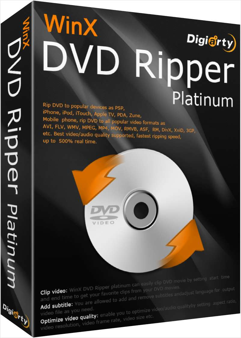 WinX DVD Ripper Platinum V7.5.15 (Software Valued at $39.95) FREE for a limited time!