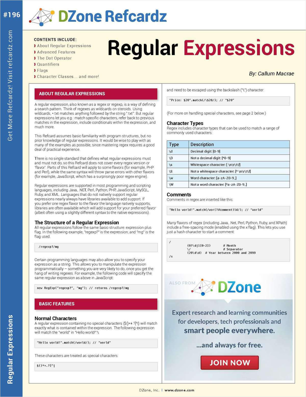 The Essential Regular Expressions Cheat Sheet
