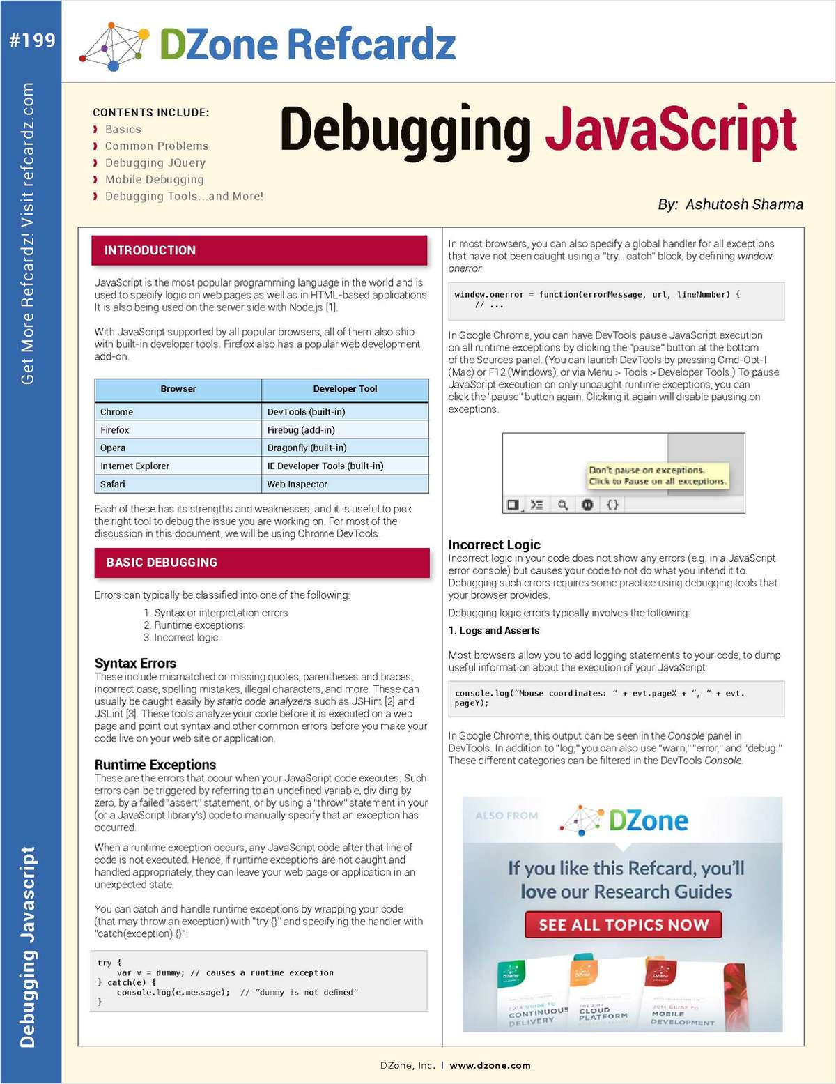 The Essential Debugging JavaScript Cheat Sheet