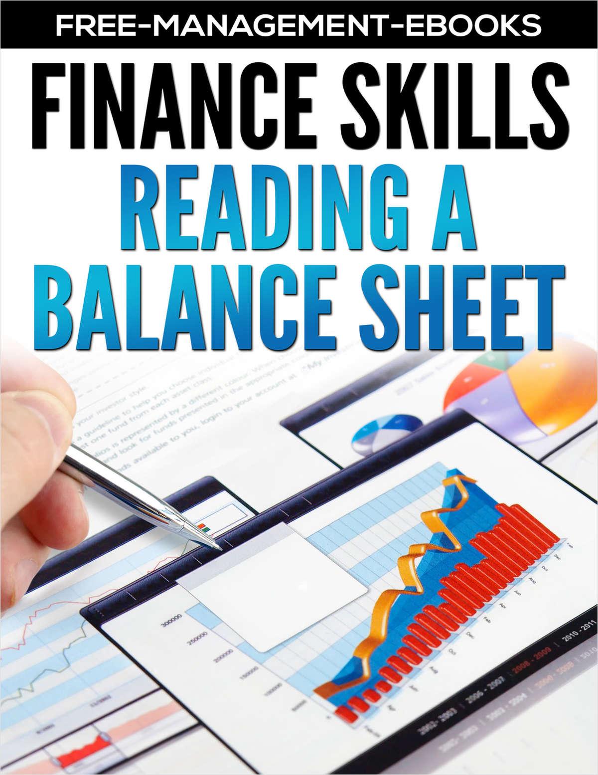 Reading A Balance Sheet -- Developing your Finance Skills