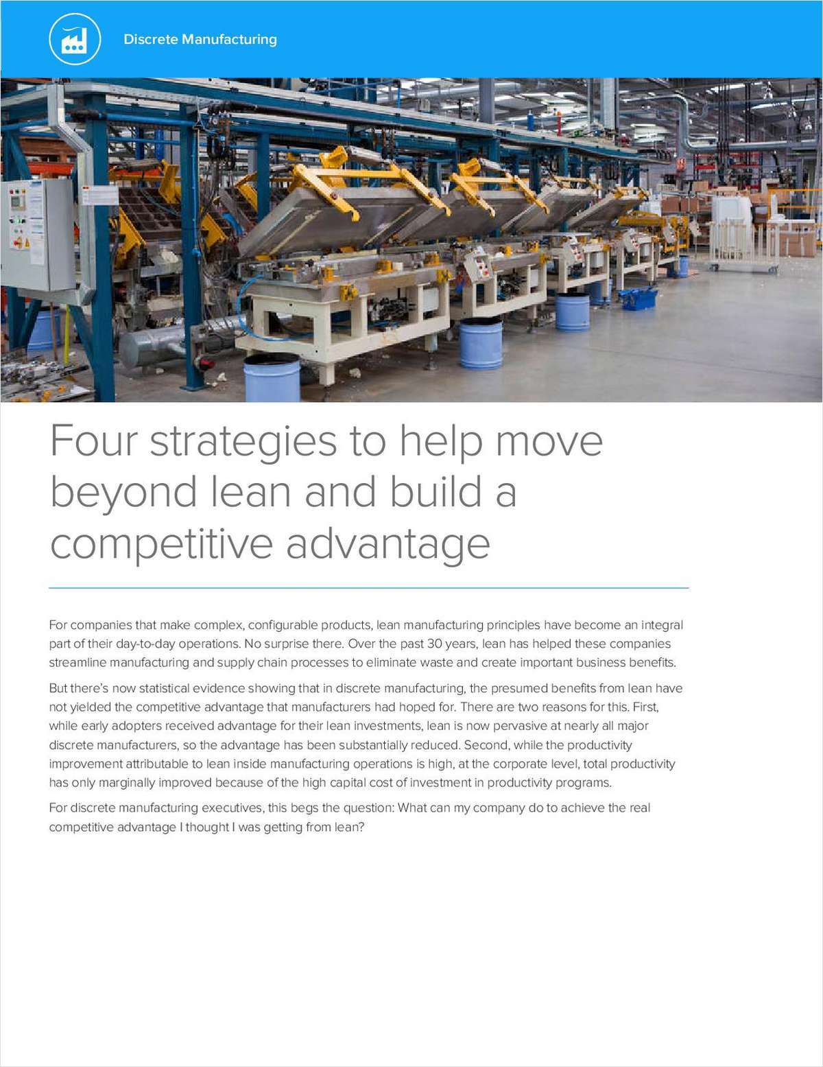 Four Strategies to Help Move Beyond Lean and Build a Competitive Advantage