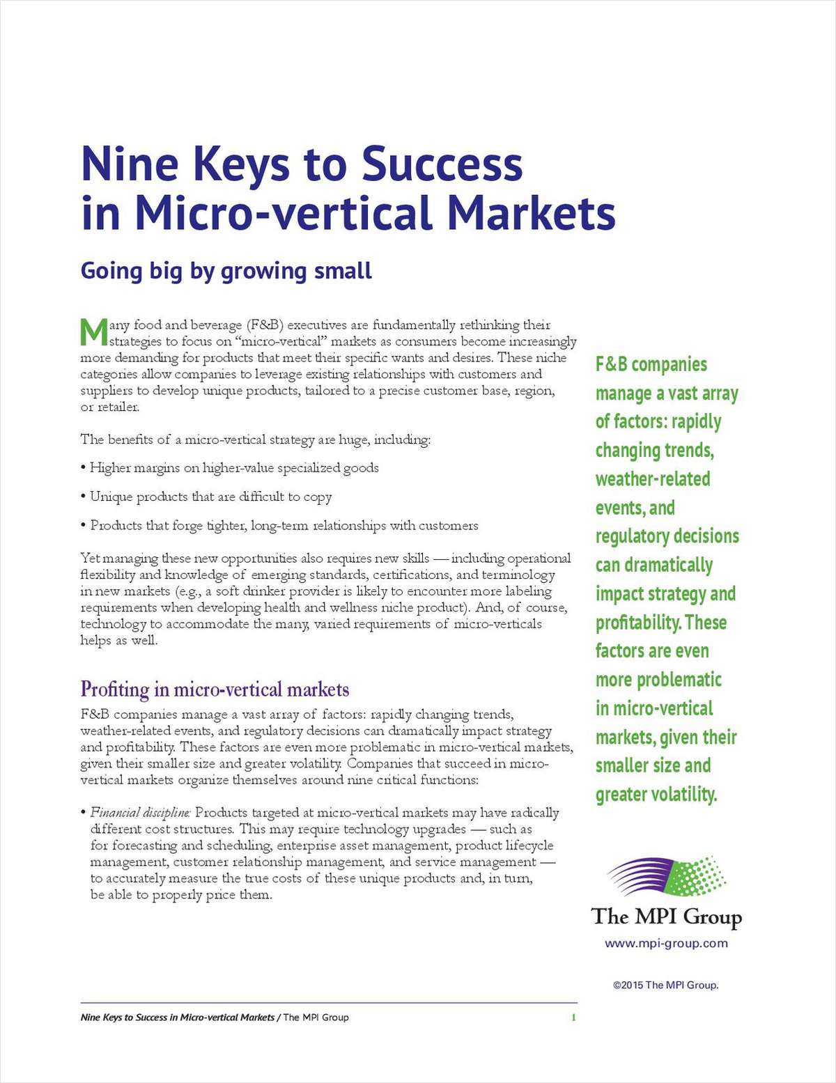 Nine Keys to Success in Micro-vertical Markets