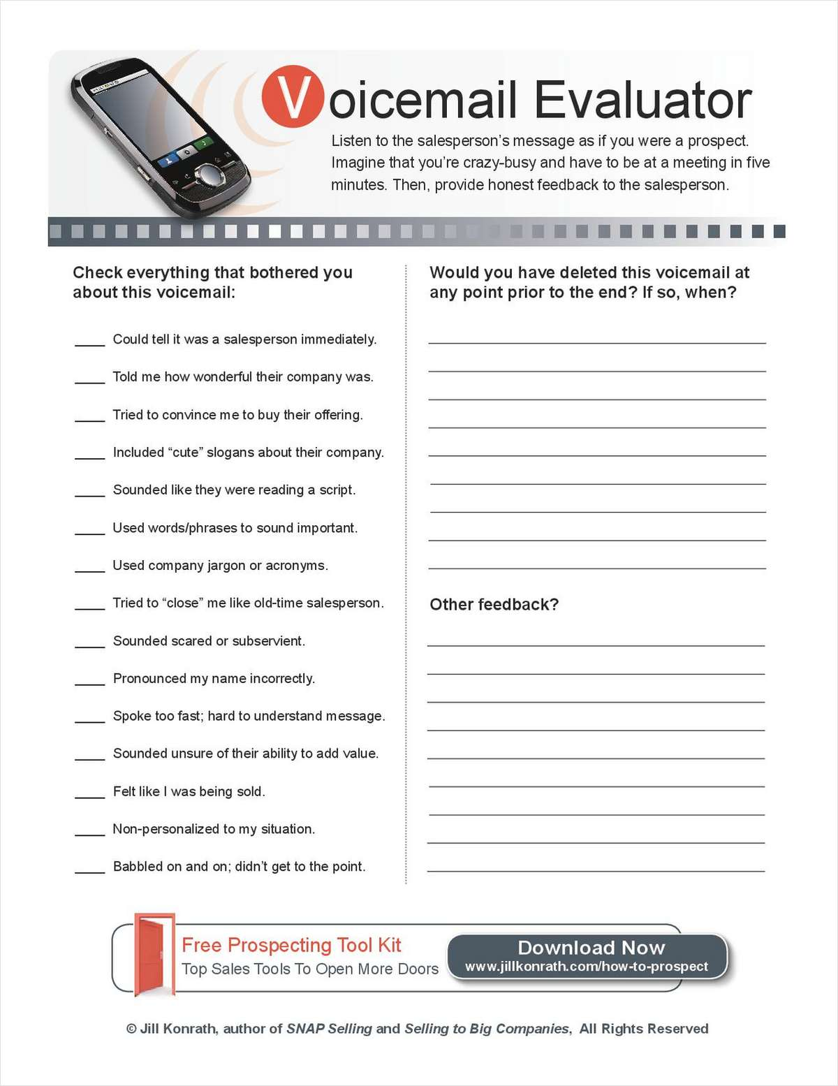 Voicemail Evaluator Cheat Sheet
