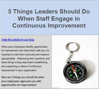 5 Things Leaders Should Do When Staff Engage in Continuous Improvement