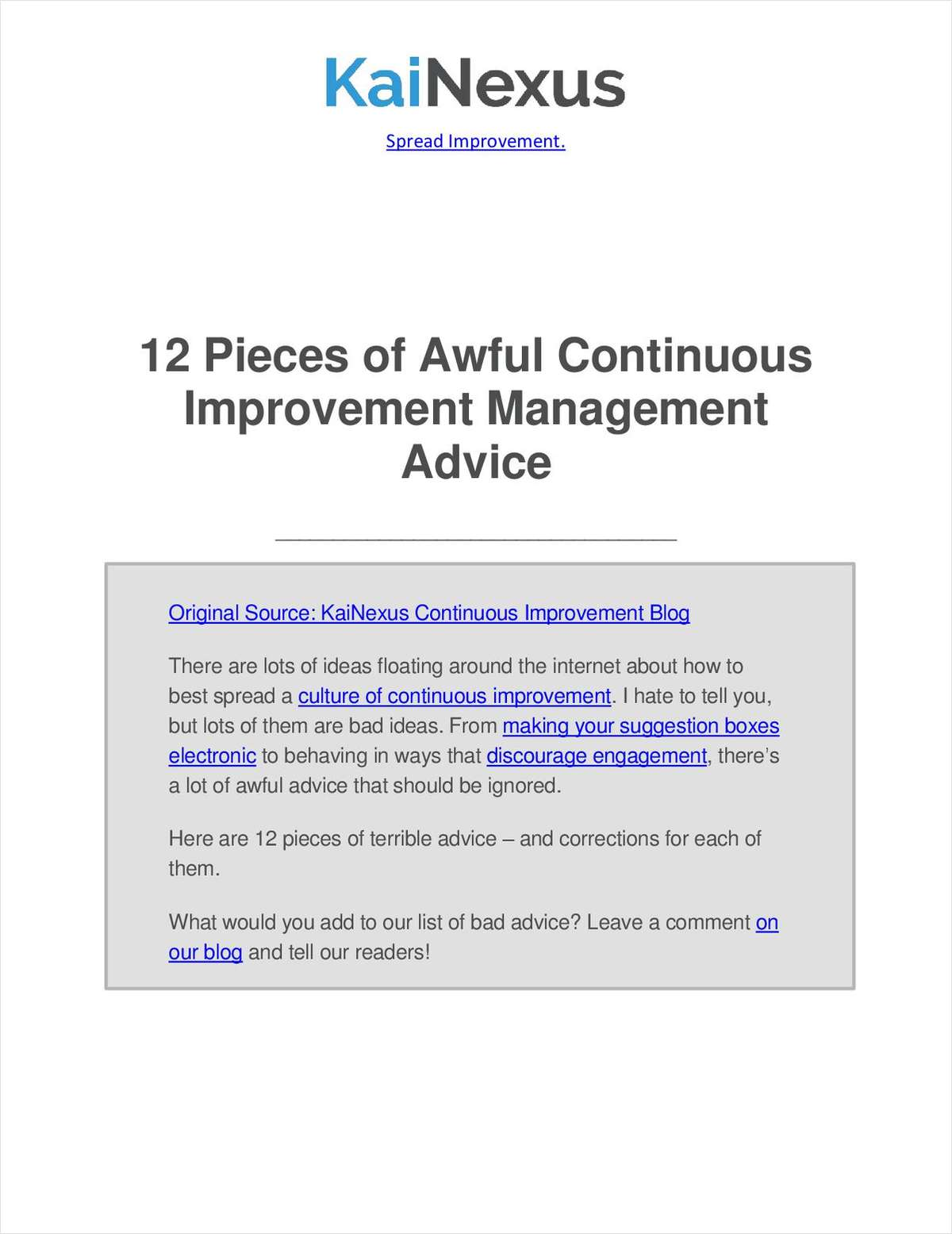 12 Pieces of Awful Continuous Improvement Management Advice