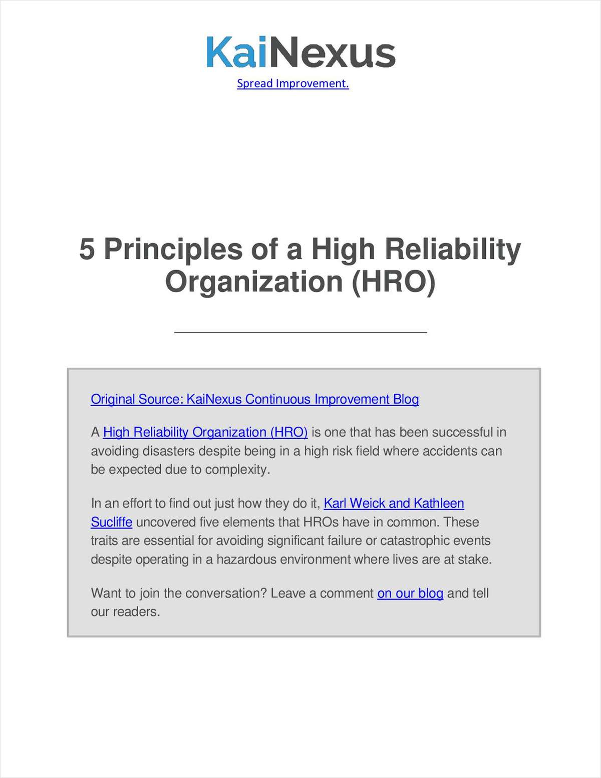 5 Principles of a High Reliability Organization (HRO)