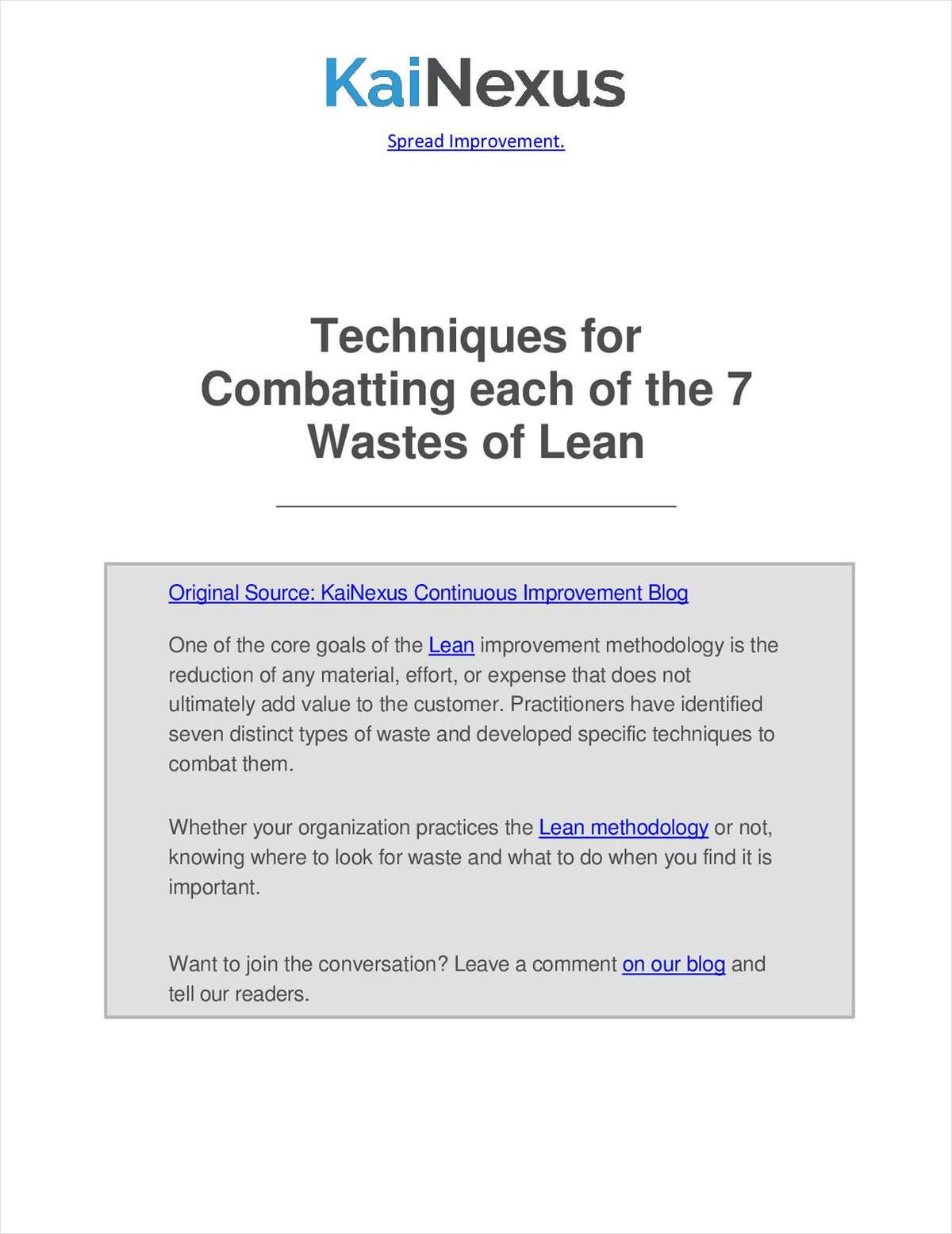 Techniques for Combatting each of the 7 Wastes of Lean