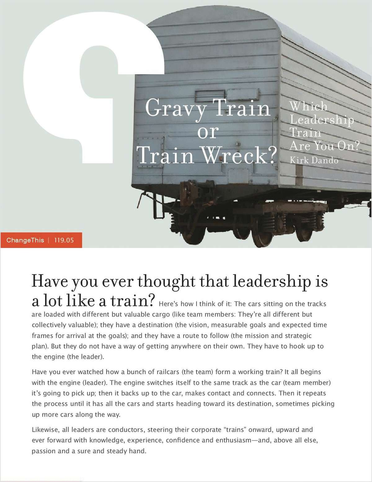 Gravy Train or Train Wreck? Which Leadership Train Are You On?