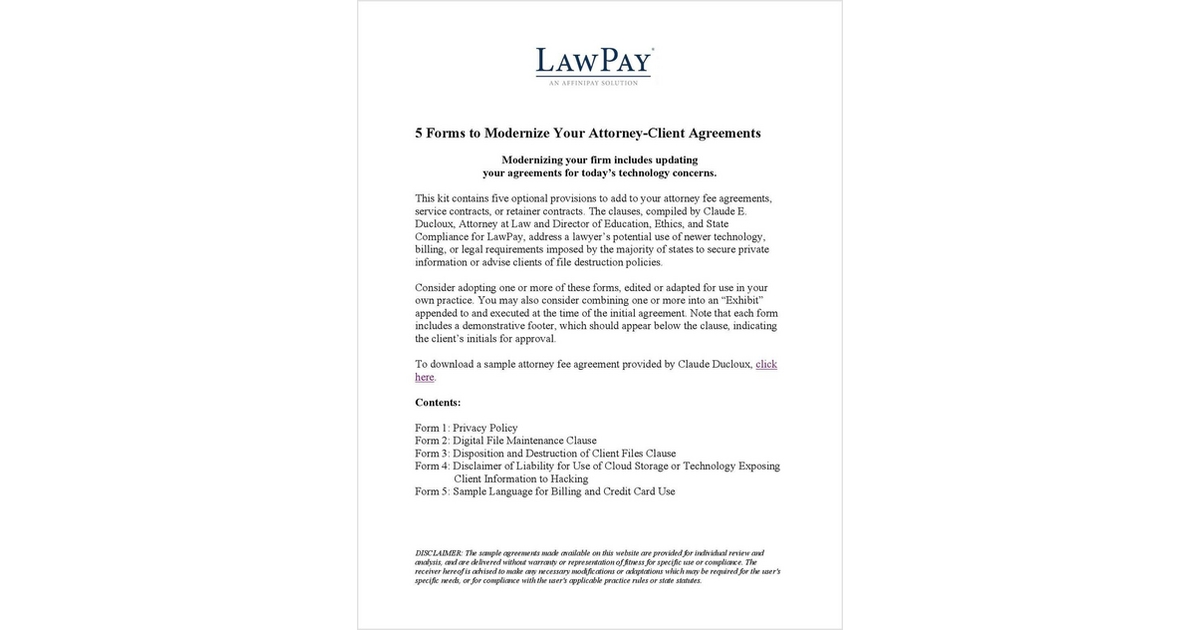5 Forms To Modernize Your Attorney Client Agreements Free Lawpay Ekit