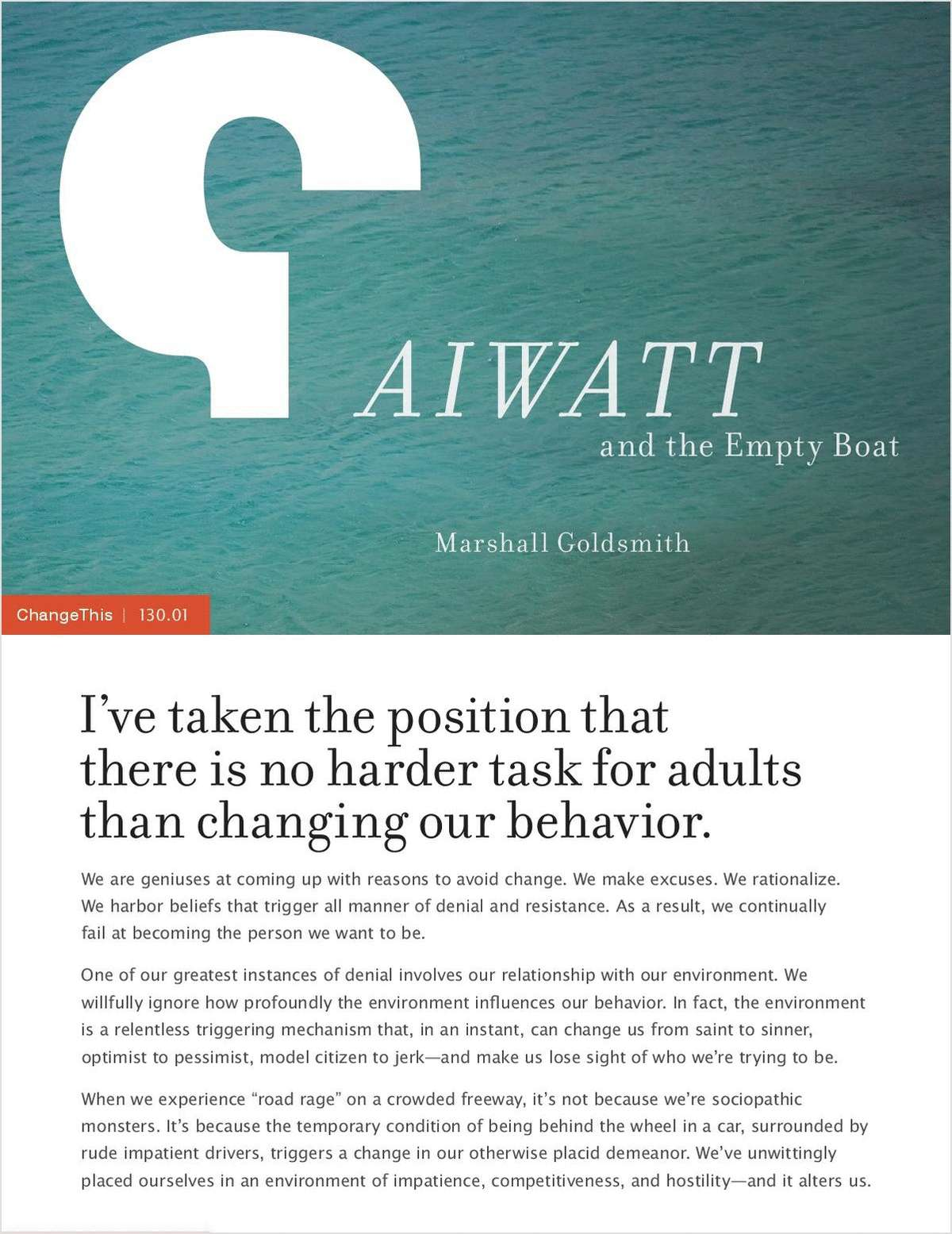 Creating Behavior That Lasts: Using the AIWATT Method