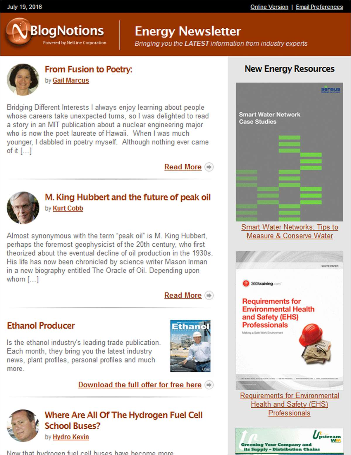 BlogNotions Energy Newsletter: Monthly eNewsletter Featuring Blogs from Industry Experts