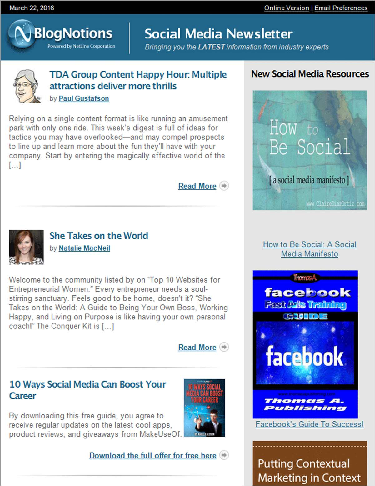 BlogNotions Social Media Newsletter: Monthly eNewsletter Featuring Blogs from Industry Experts