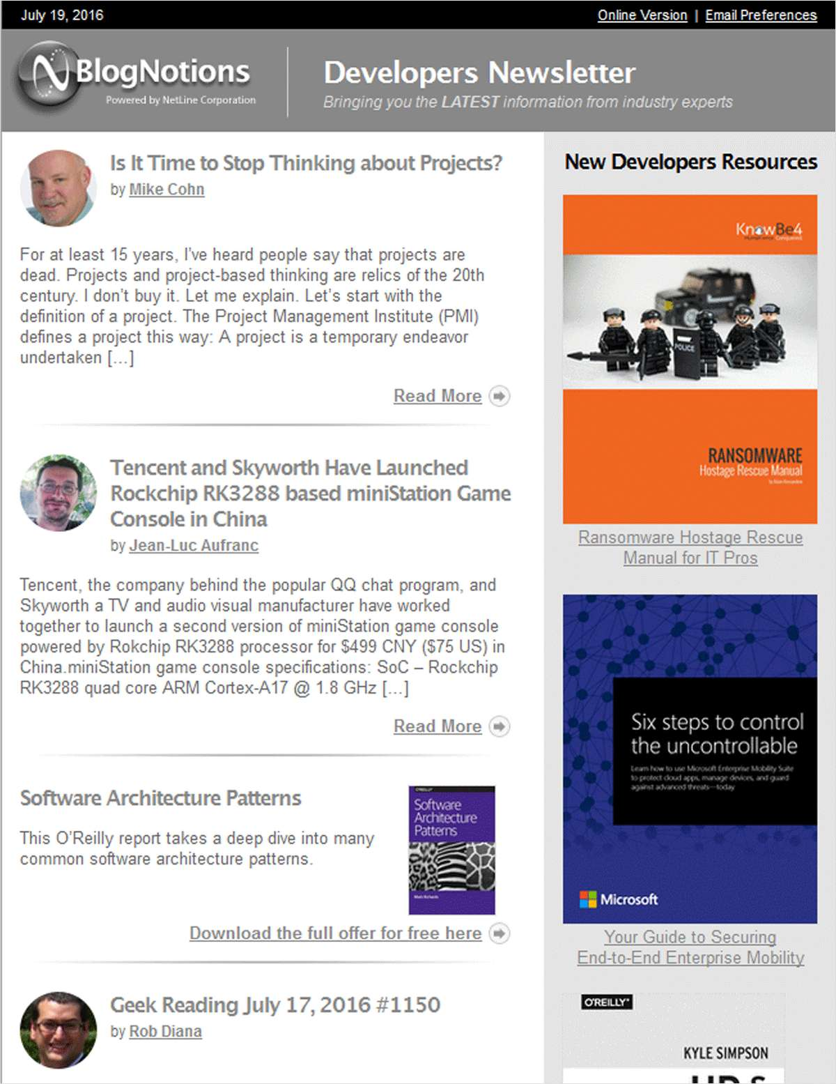 BlogNotions Developers Newsletter: Monthly eNewsletter Featuring Blogs from Industry Experts