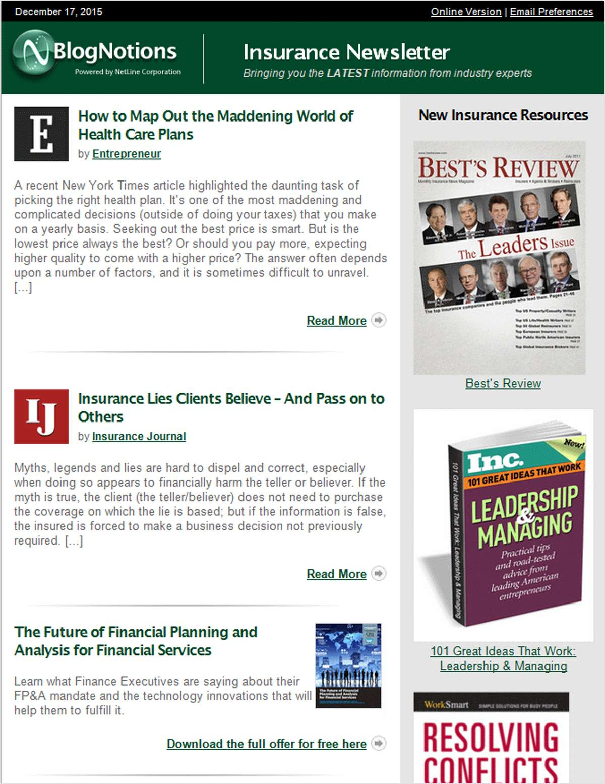 BlogNotions Insurance Newsletter: Monthly eNewsletter Featuring Blogs from Industry Experts