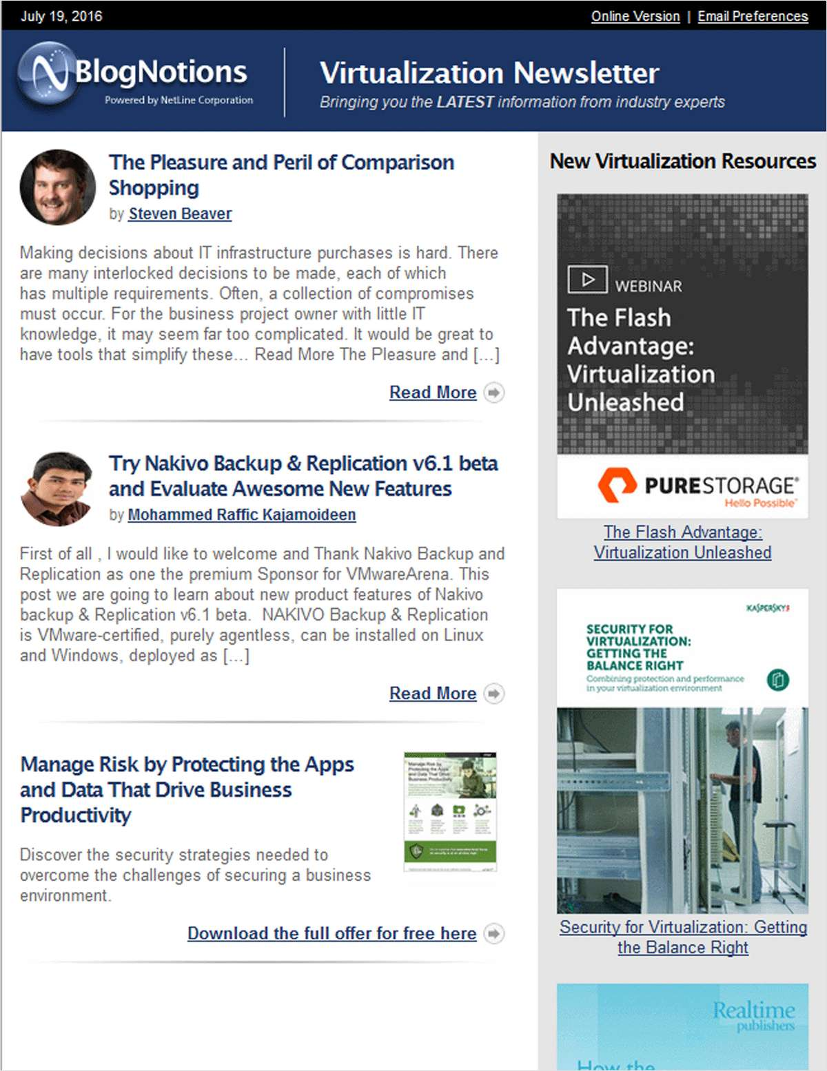BlogNotions Virtualization Newsletter: Monthly eNewsletter Featuring Blogs from Industry Experts