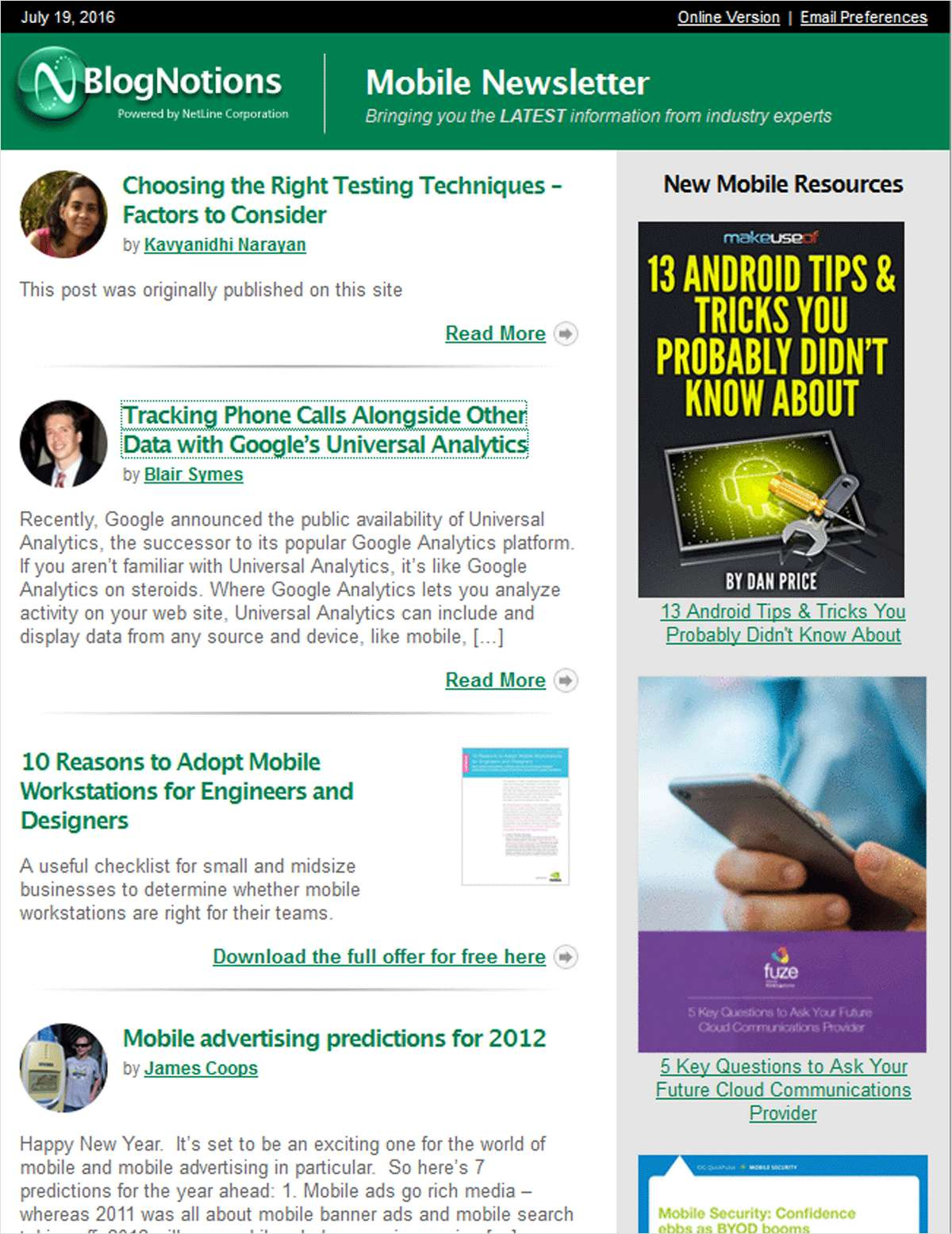 BlogNotions Mobile Newsletter: Monthly eNewsletter Featuring Blogs from Industry Experts