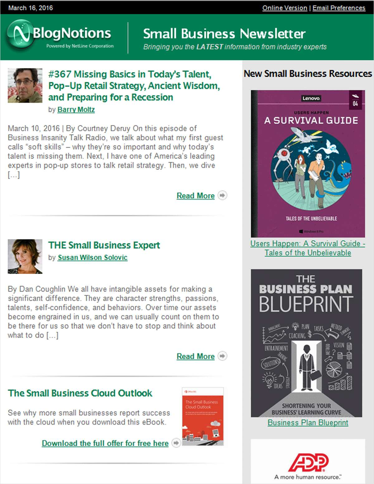 BlogNotions Small Business Newsletter: Monthly eNewsletter Featuring Blogs from Industry Experts