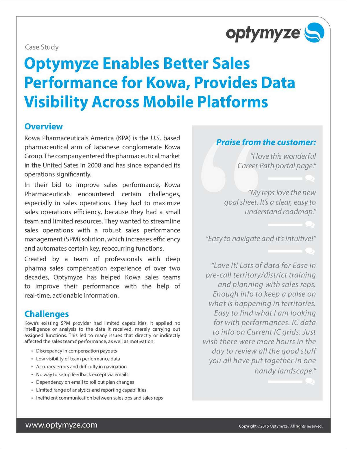Optymyze Enables Better Sales Performance for Kowa, Provides Data Visibility Across Mobile Platforms