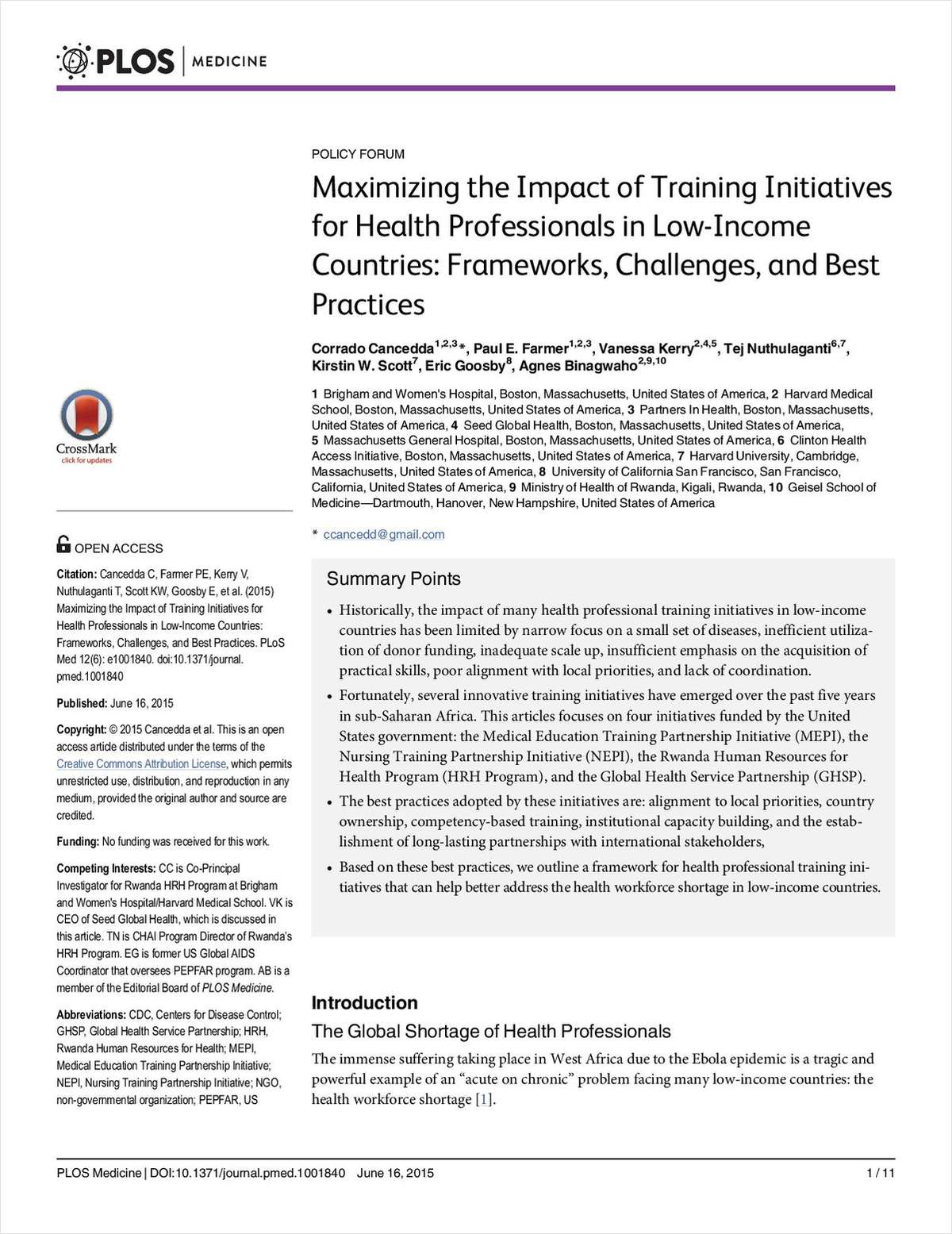 Maximizing the Impact of Training Initiatives for Health Professionals in Low-Income Countries