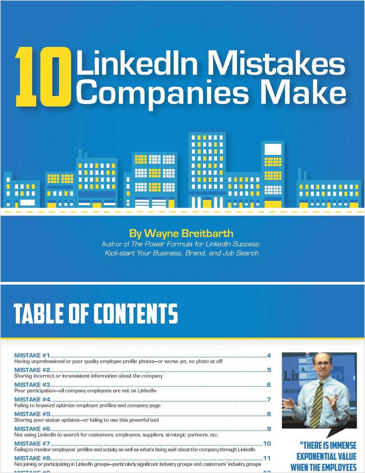 10 LinkedIn Mistakes Companies Make