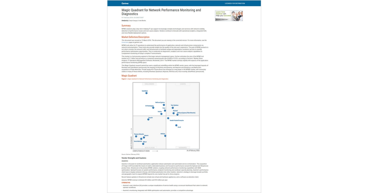 magic quadrant for network performance monitoring and diagnostics pdf