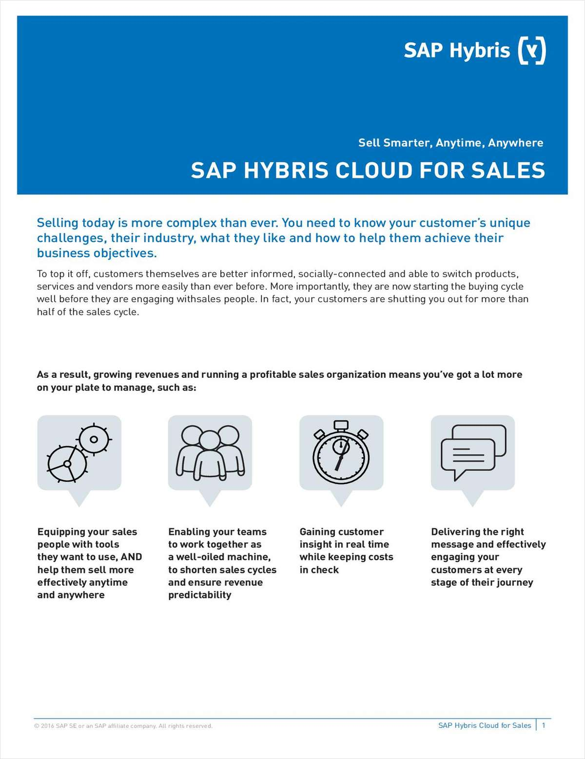 Sell Smarter, Anytime, Anywhere: SAP Hybris Cloud For Sales