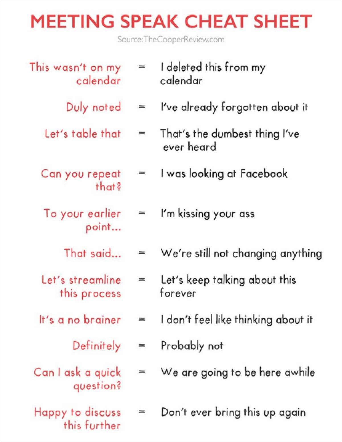 Meeting Speak Cheat Sheet
