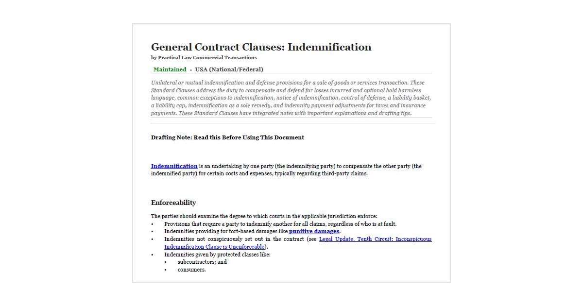 contract of indemnity notes