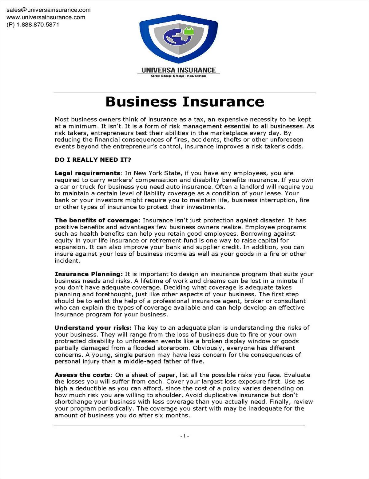 Tips for Choosing the most appropiate insurance coverages for your business.