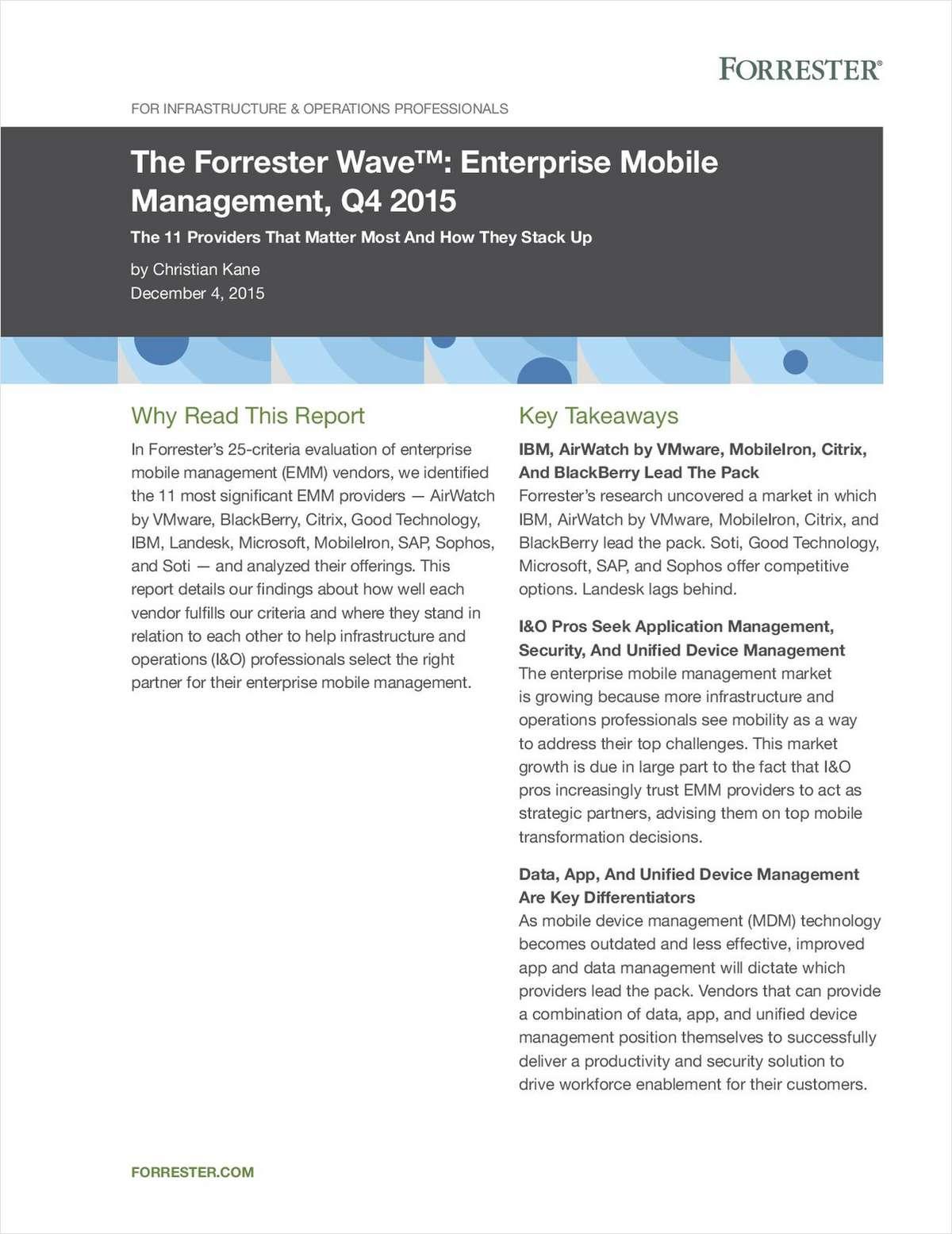 The Forrester Wave: Enterprise Mobile Management, Q4 2015