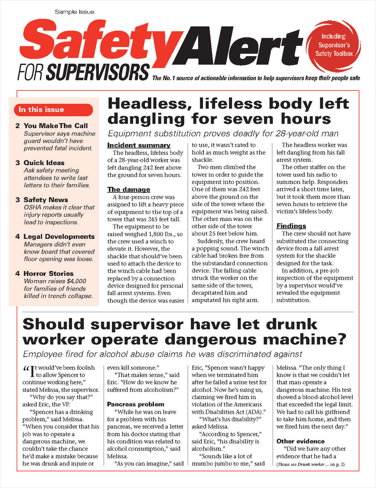 Safety Alert for Supervisors