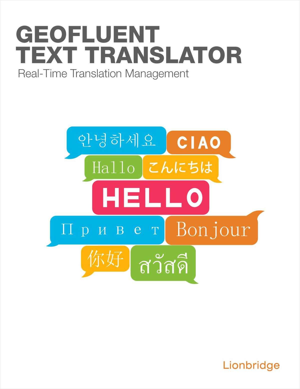 Real-Time Translation Management with GeoFluent Text Translator