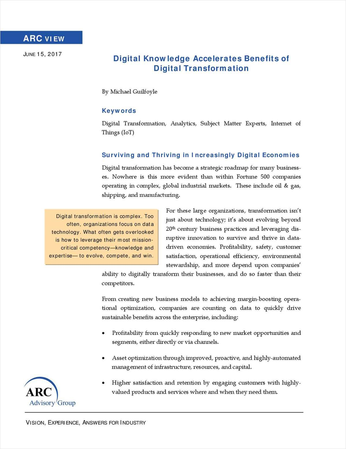 ARC Advisory Group: Digital Knowledge Accelerates Benefits of Digital Transformation