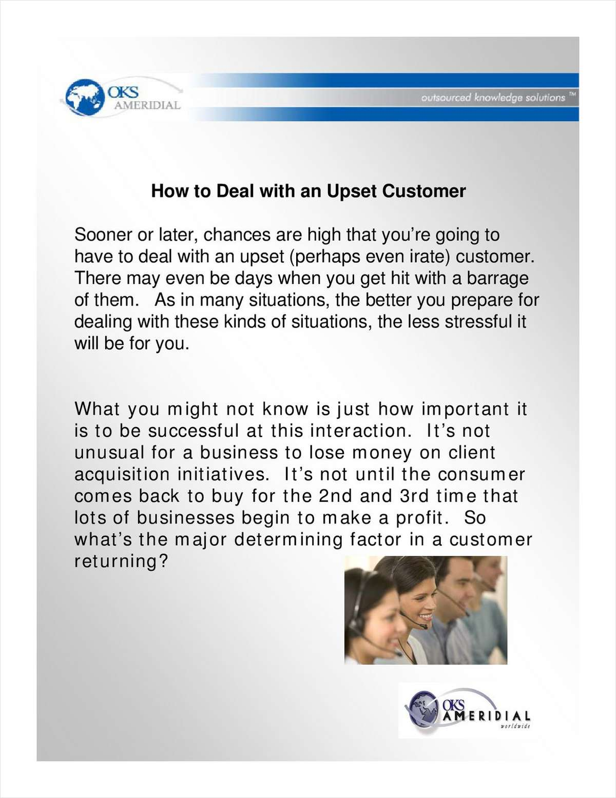 How to Deal with Upset Customers in the Call Center