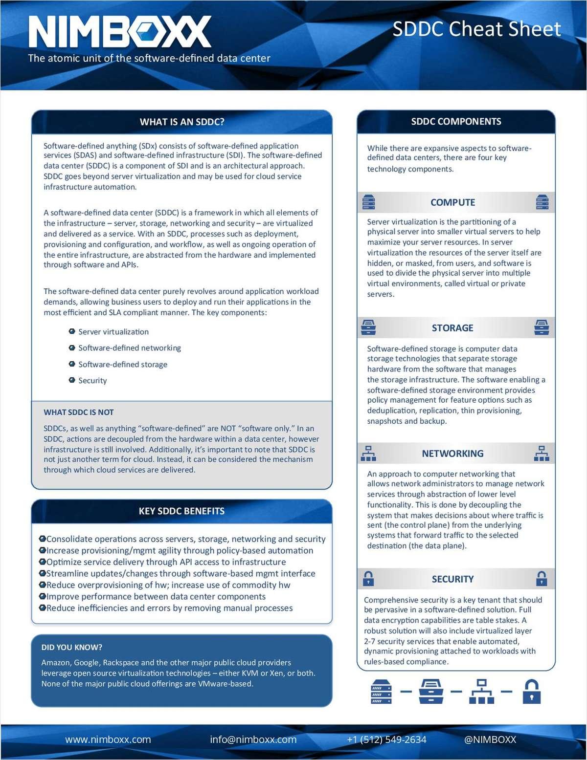 Free Software Defined Data Center (SDDC) Cheat Sheet