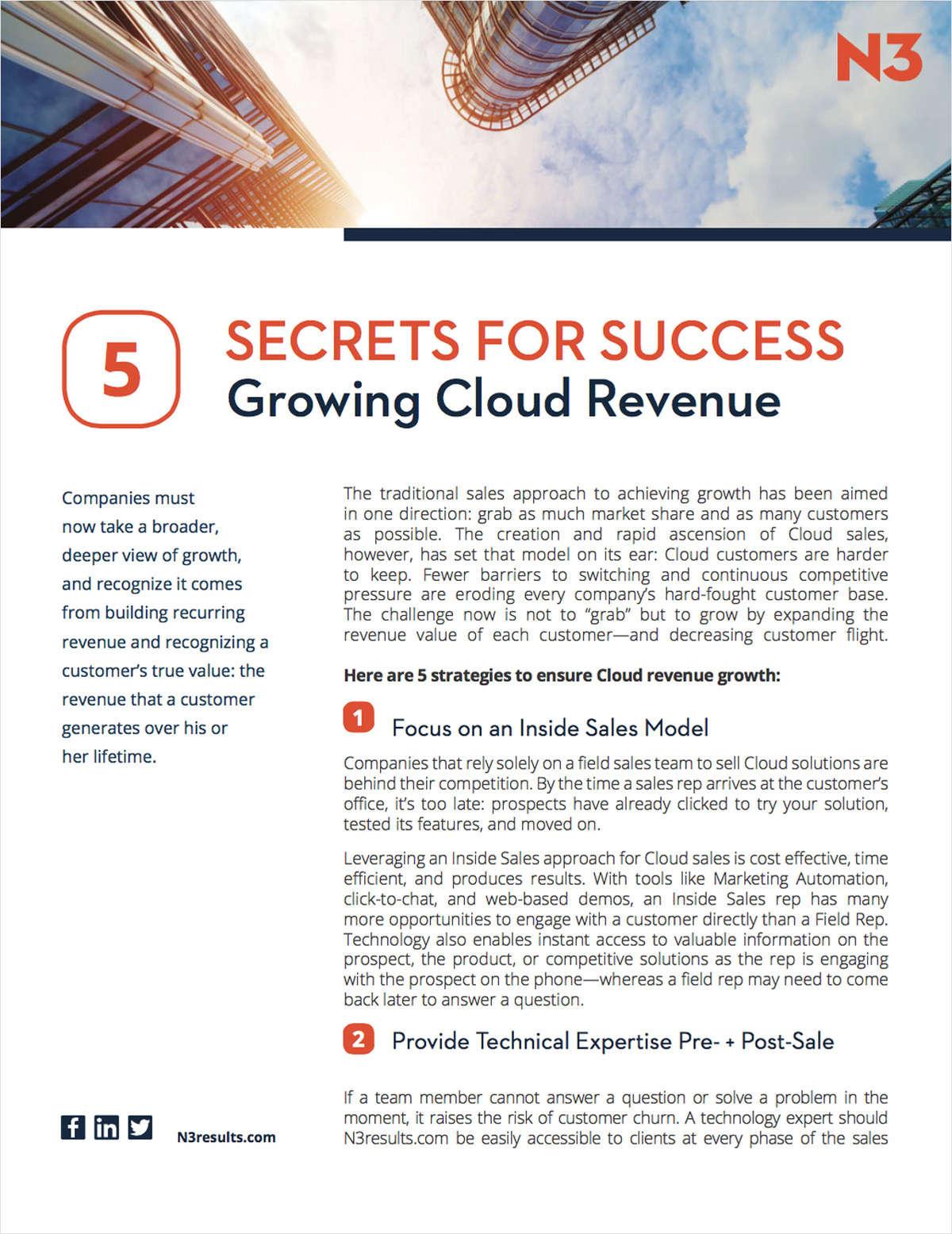 5 Secrets for Success Growing Cloud Revenue