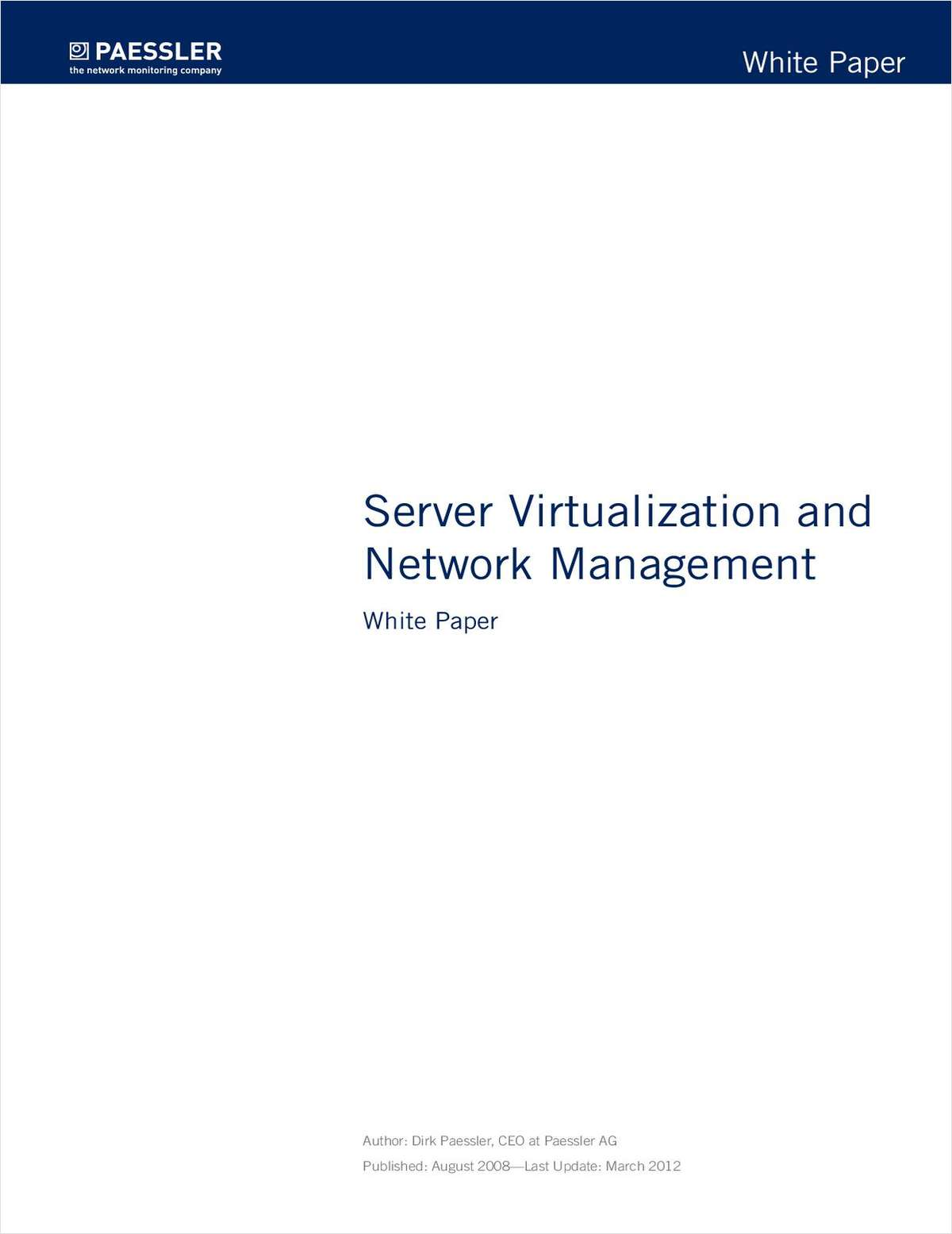 Server Virtualization and Network Management