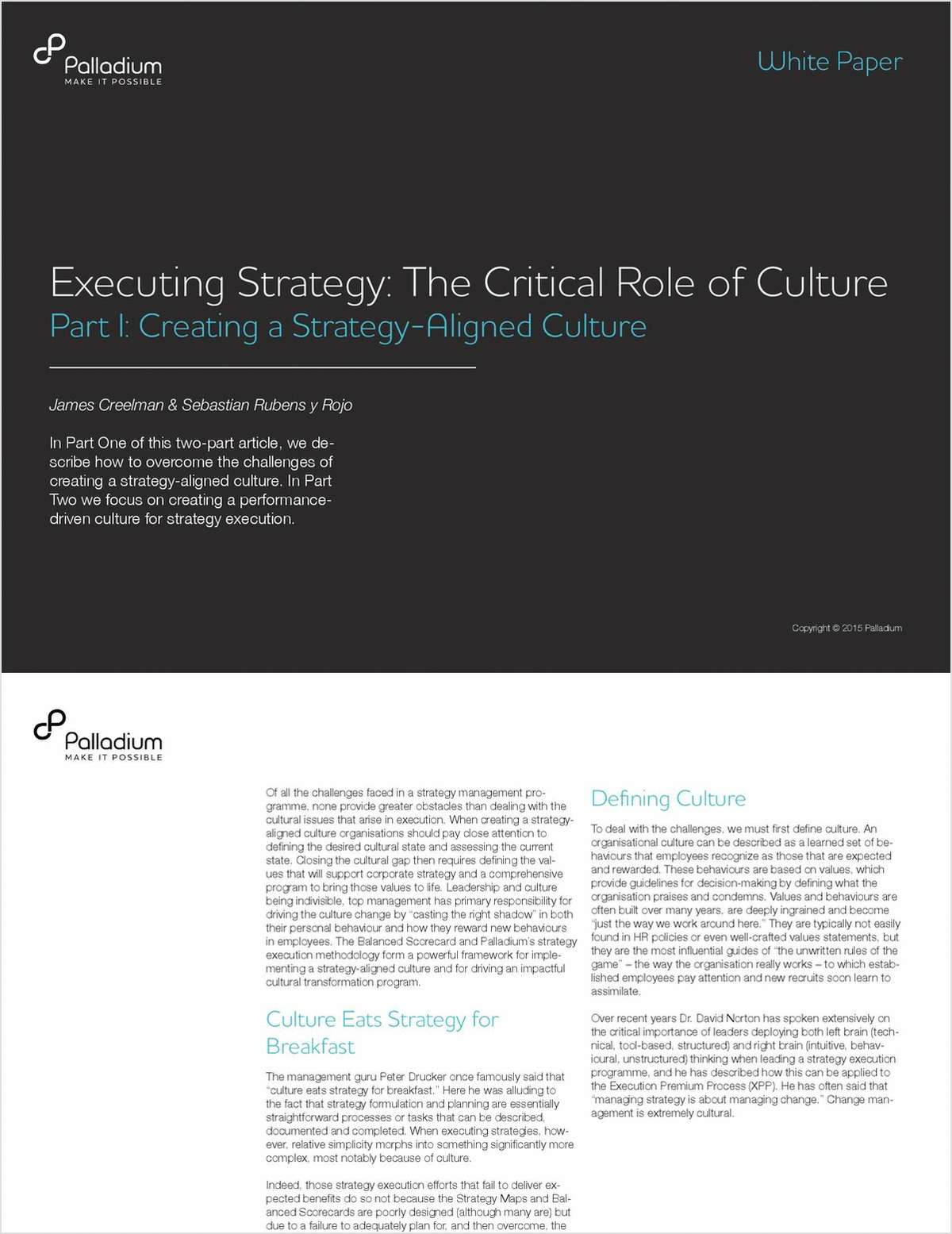 Executing Strategy: The Critical Role of Culture