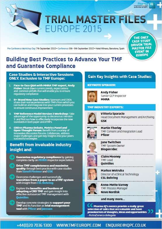 Gain Best Practices to Advance Your Trial Master File and Guarantee Compliance with the MHRA, Pfizer, GSK, Novo Nordisk and CSL Behring.